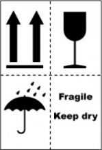 VFKD Handling Label 75mm x 110mm  Fragile/Keep Dry - Rolls of 250